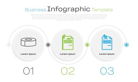 Set line Scotch, File document and paper clip and Note paper with pinned pushbutton. Business infographic template. Vector