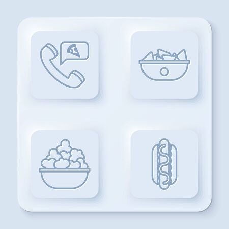 Set line Food ordering pizza, Nachos in plate, Popcorn in bowl and Hotdog sandwich with mustard. White square button. Vector
