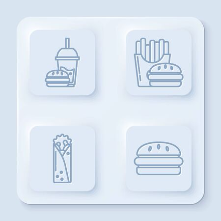 Set line Paper glass with drinking straw and burger, Burger and french fries in carton package box, Doner kebab and Burger. White square button. Vector