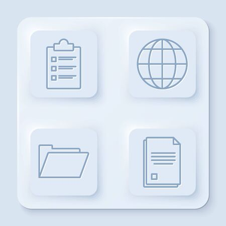 Set line Clipboard with checklist, Earth globe, Document folder and File document. White square button. Vector