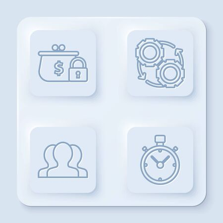 Set line Closed wallet with lock, Gear and arrows as workflow process concept, Users group and Stopwatch. White square button. Vector