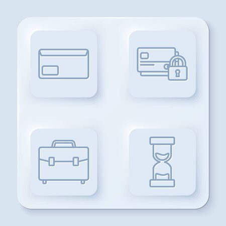 Set line Envelope, Credit card with lock, Briefcase and Old hourglass with flowing sand. White square button. Vector