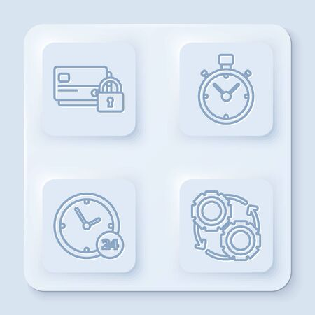 Set line Credit card with lock, Stopwatch, Clock 24 hours and Gear and arrows as workflow process concept. White square button. Vector Çizim