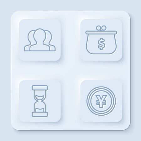 Set line Users group, Wallet with with dollar symbol, Old hourglass with flowing sand and Coin money with Yen symbol. White square button. Vector