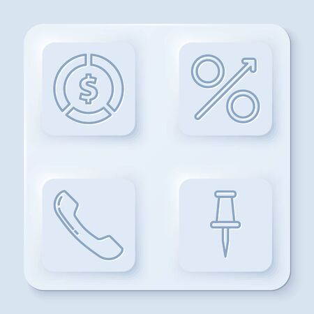 Set line Coin money with dollar symbol, Percent up arrow, Telephone handset and Push pin. White square button. Vector