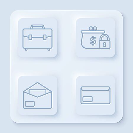 Set line Briefcase, Closed wallet with lock, Envelope and Envelope. White square button. Vector