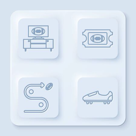 Set line American football on tv program and stand, American Football ticket, Planning strategy concept and Soccer or football shoes with spikes. White square button. Vector