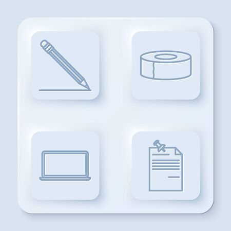 Set line Pencil with eraser and line, Scotch, Laptop and Note paper with pinned pushbutton. White square button. Vector
