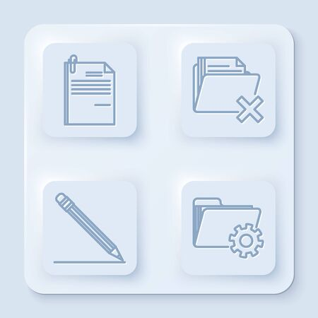 Set line File document and paper clip, Delete folder, Pencil with eraser and line and Folder settings with gears. White square button. Vector