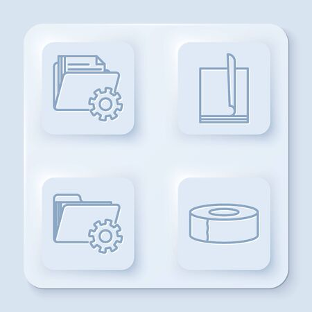 Set line Folder settings with gears, File document, Folder settings with gears and Scotch. White square button. Vector