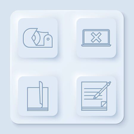 Set line Scotch, Laptop and cross mark on screen, File document and Blank notebook and pen. White square button. Vector