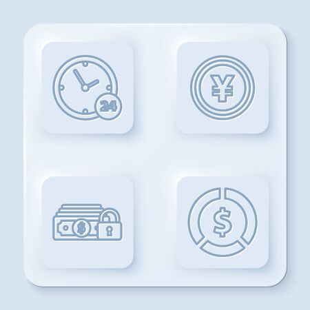 Set line Clock 24 hours, Coin money with Yen symbol, Money with lock and Coin money with dollar symbol. White square button. Vector