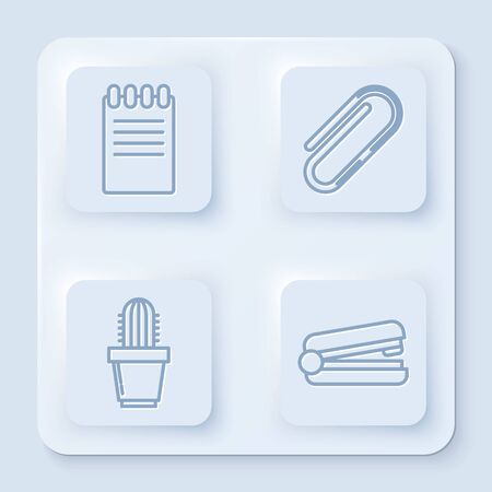 Set line Notebook, Paper clip, Cactus and succulent in pot and Office stapler. White square button. Vector