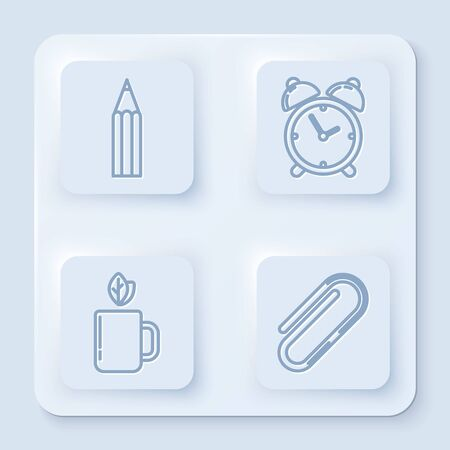 Set line Pencil, Alarm clock, Cup of tea and leaf and Paper clip. White square button. Vector