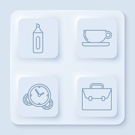Set line Marker pen, Coffee cup flat, Time Management and Briefcase. White square button. Vector