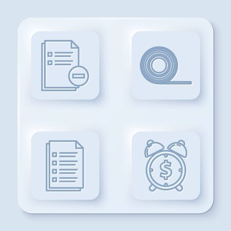 Set line Document with minus, Scotch, File document and Alarm clock with dollar symbol. White square button. Vector