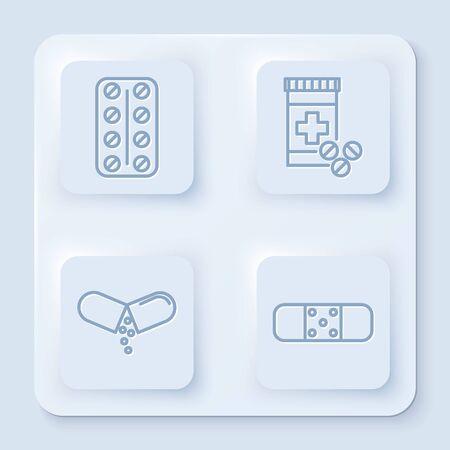 Set line Pills in blister pack, Medicine bottle and pills, Medicine pill or tablet and Bandage plaster. White square button. Vector Vektorové ilustrace