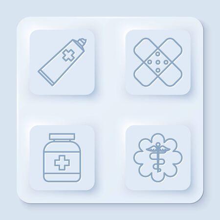 Set line Ointment cream tube medicine, Crossed bandage plaster, Medicine bottle and Emergency star medical symbol Caduceus snake with stick. White square button. Vector