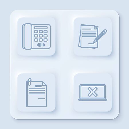 Set line Telephone, Blank notebook and pencil with eraser, File document and paper clip and Laptop and cross mark on screen. White square button. Vector