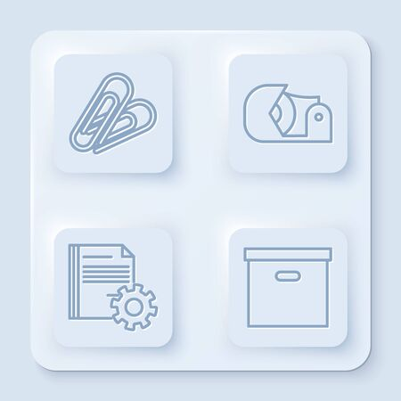 Set line Paper clip, Scotch, Document settings with gears and Carton cardboard box. White square button. Vector