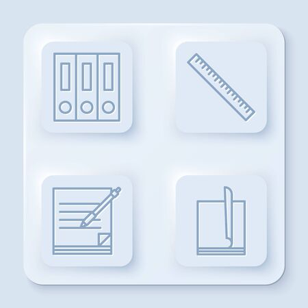 Set line Office folders with papers and documents, Ruler, Blank notebook and pen and File document. White square button. Vector