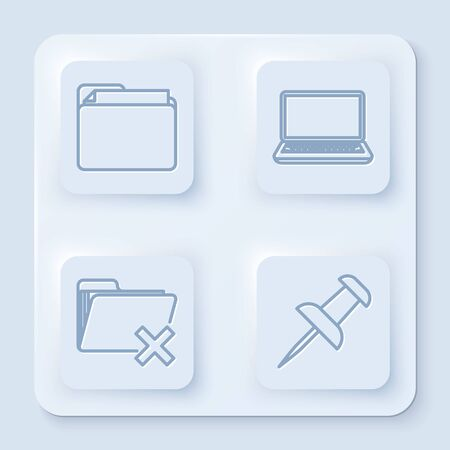 Set line Document folder, Laptop, Delete folder and Push pin. White square button. Vector