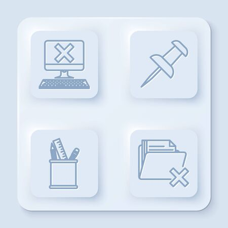 Set line Computer with keyboard and x mark, Push pin, Pencil case stationery and Delete folder. White square button. Vector