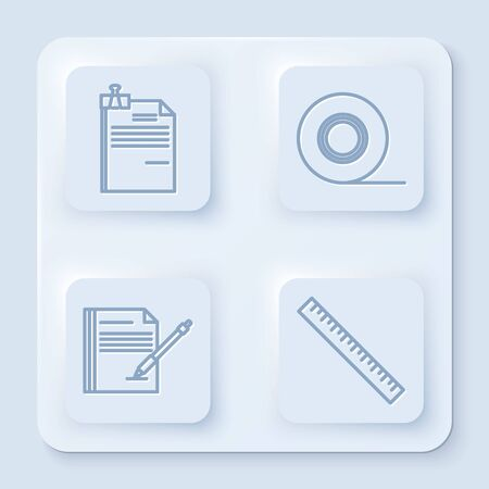 Set line File document and binder clip, Scotch, Blank notebook and pen and Ruler. White square button. Vector Ilustração