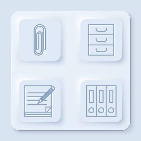 Set line Paper clip, Drawer with documents, Blank notebook and pencil with eraser and Office folders with papers and documents. White square button. Vector