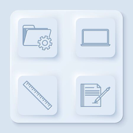 Set line Folder settings with gears, Laptop, Ruler and Blank notebook and pen. White square button. Vector