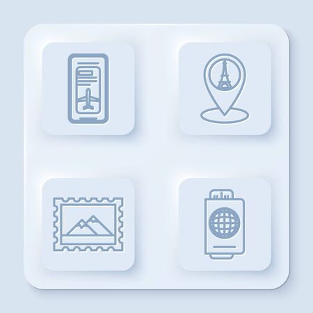 Set line Smartphone with electronic boarding pass airline ticket, Map pointer with Eiffel tower, Postal stamp and Mountains and Passport with ticket. White square button. Vector