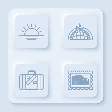 Set line Sunset, Globe with flying plane, Suitcase for travel and stickers and Postal stamp and Coliseum. White square button. Vector Illustration