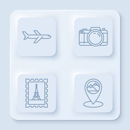 Set line Plane, Photo camera, Postal stamp and Eiffel tower and Map pointer with mountain. White square button. Vector