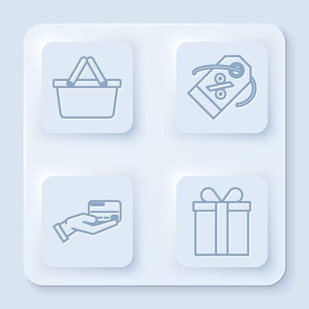 Set line Shopping basket, Discount percent tag, Human hand holding with credit card and Gift box. White square button. Vector