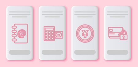 Set line Address book, Calculator with dollar symbol, Coin money with Yen symbol and Credit card with lock. White rectangle button. Vector Çizim