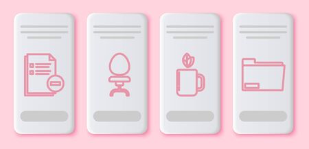 Set line Document with minus, Office chair, Cup of tea and leaf and Document folder. White rectangle button. Vector