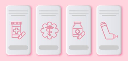 Set line Medicine bottle and pills, Emergency star medical symbol Caduceus snake with stick, Medicine bottle and pills and Inhaler. White rectangle button. Vector