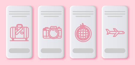 Set line Suitcase for travel and stickers, Photo camera, Globe with flying plane and Plane. White rectangle button. Vector 일러스트