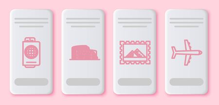 Set line Passport with ticket, Coliseum in Rome, Italy, Postal stamp and Egypt pyramids and Plane. White rectangle button. Vector
