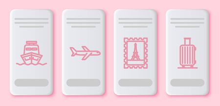 Set line Ship, Plane, Postal stamp and Eiffel tower and Suitcase for travel. White rectangle button. Vector
