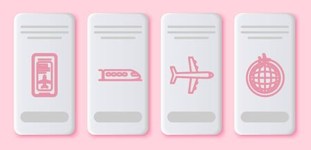 Set line Smartphone with electronic boarding pass airline ticket, Train, Plane and Globe with flying plane. White rectangle button. Vector