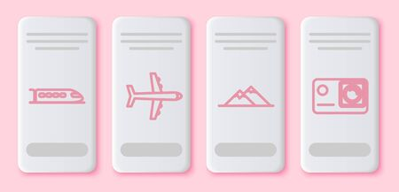 Set line Train, Plane, Mountains and Action extreme camera. White rectangle button. Vector