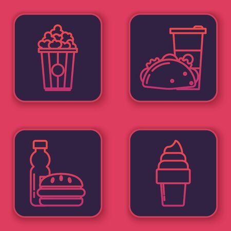 Set line Popcorn in cardboard box, Bottle of water and burger, Paper glass and taco with tortilla and Ice cream in waffle cone. Blue square button. Vector