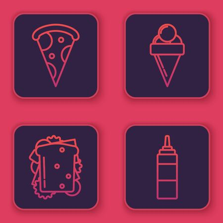 Set line Slice of pizza, Sandwich, Ice cream in waffle cone and Sauce bottle. Blue square button. Vector Illustration