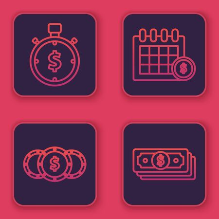 Set line Time is money, Coin money with dollar symbol, Financial calendar and Stacks paper money cash. Blue square button. Vector