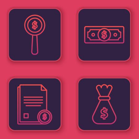 Set line Magnifying glass and dollar symbol, Finance document, Stacks paper money cash and Money bag. Blue square button. Vector Ilustracja