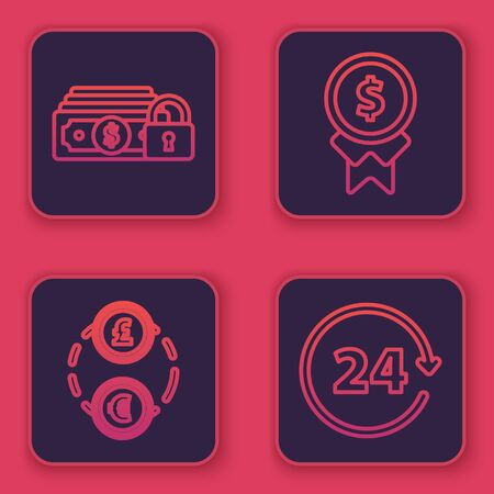 Set line Money with lock, Money exchange, Reward for good work and Clock 24 hours. Blue square button. Vector Çizim