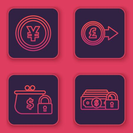 Set line Coin money with Yen symbol, Closed wallet with lock, Coin money with pound sterling symbol and Money with lock. Blue square button. Vector