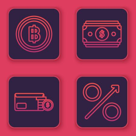 Set line Cryptocurrency coin Bitcoin, Envelope with coin dollar symbol, Stacks paper money cash and Percent up arrow. Blue square button. Vector