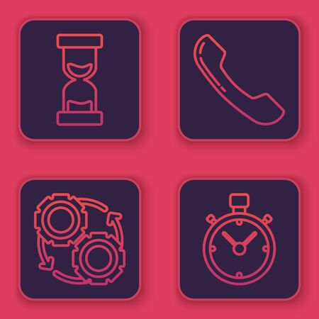 Set line Old hourglass with flowing sand, Gear and arrows as workflow process concept, Telephone handset and Stopwatch. Blue square button. Vector